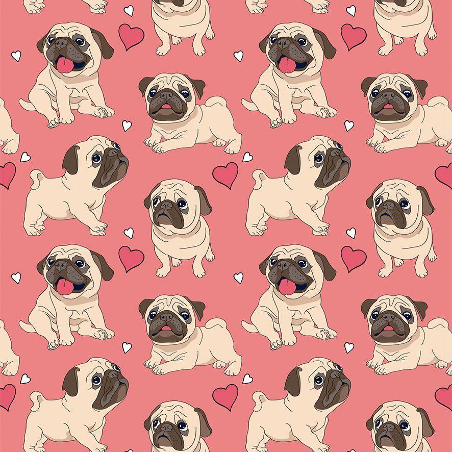 Papel de Parede Cachorro Pug Corações Adesivo P781