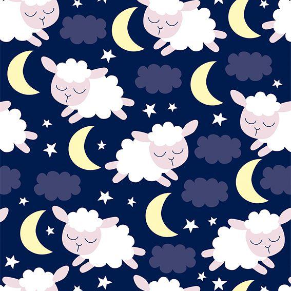 Papel de Parede Carneirinhos Nuvens Lua Estrelas Adesivo P340