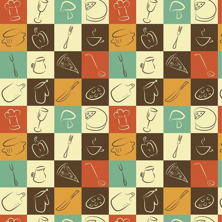 Papel de Parede Chef Food Quadrados Adesivo P578