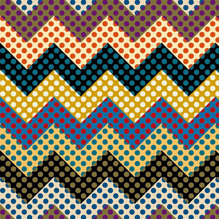 Papel de Parede Chevron Colorido Poa Zig Zag Adesivo P711