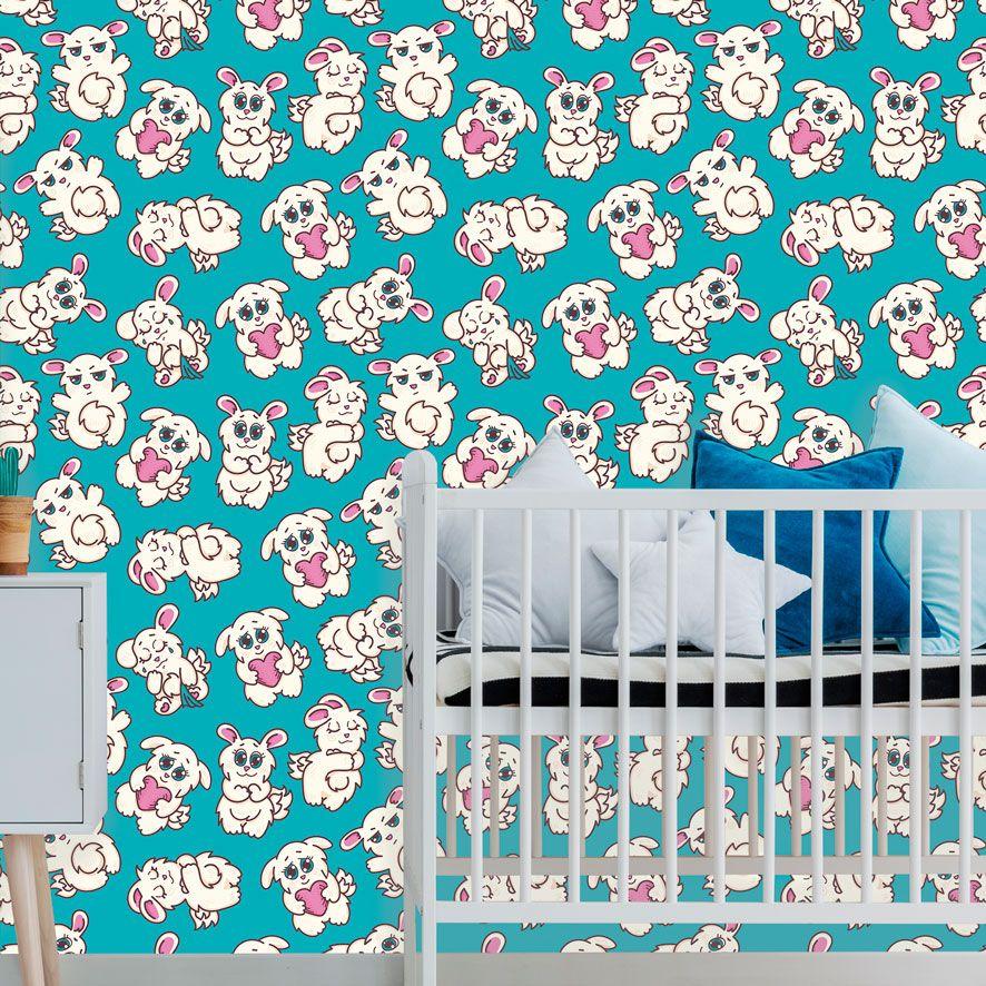 Papel de Parede Coelhinhos Cute Love Adesivo P487
