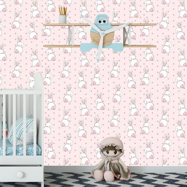 Papel de Parede Coelhinhos Poa Bebê Adesivo P264