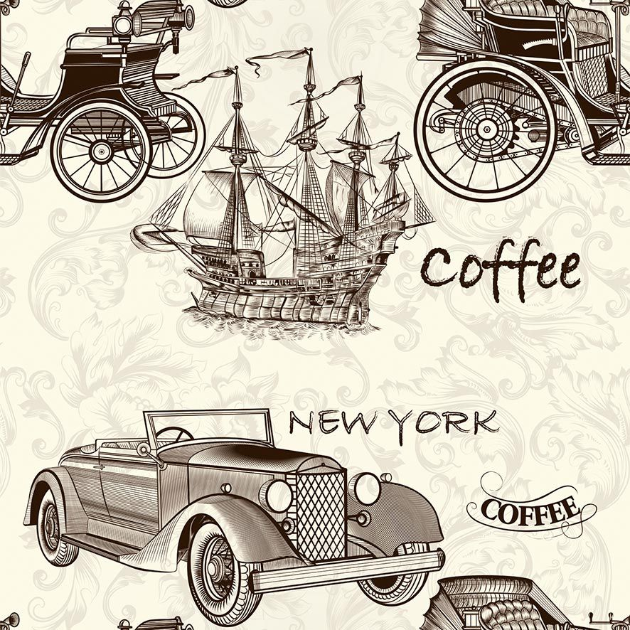 Papel de Parede Coffee Carro New York Vintage Retrô Adesivo P665