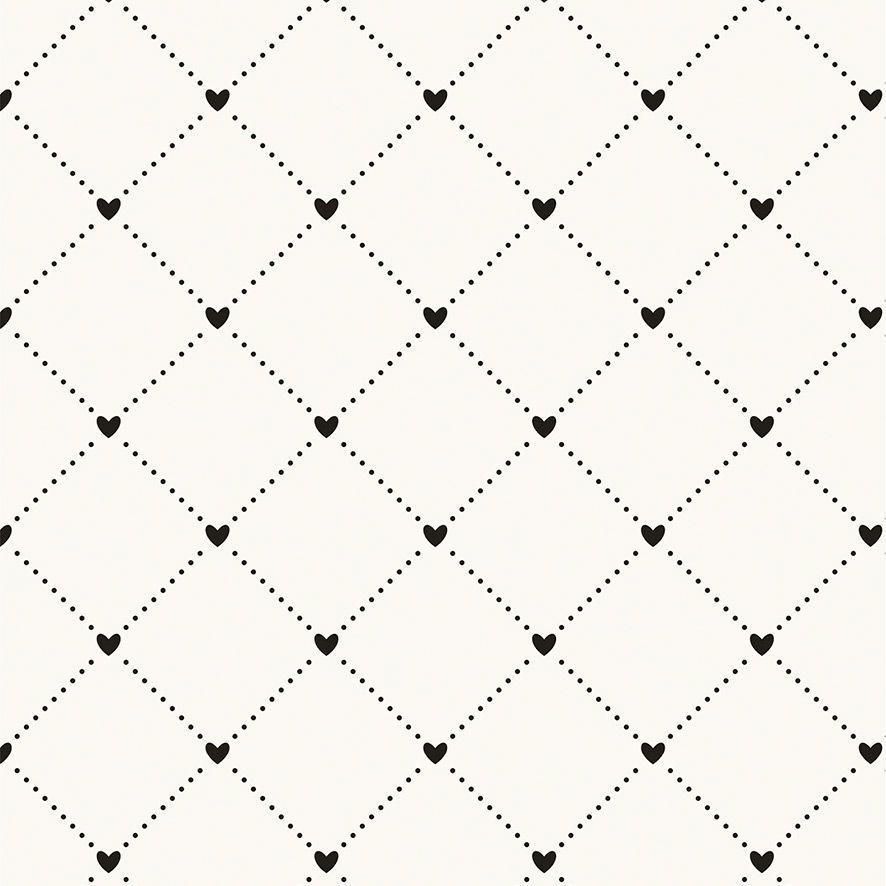 Papel de Parede Geométrico Quadrado Corações Glamour Love Adesivo P538