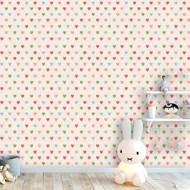Papel de Parede Corações Colorido Kids Adesivo P450