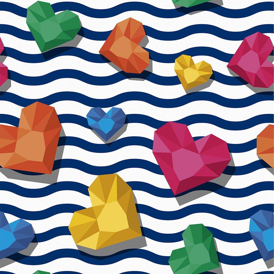Papel de Parede Listras Ondulado Corações 3D Diamante Colorido Adesivo P526