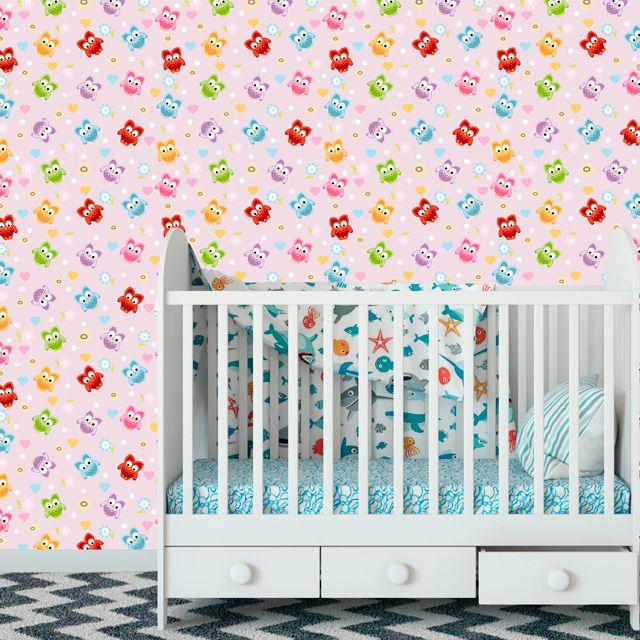 Papel de Parede Corujas Bebê Florzinhas Corações Adesivo P466