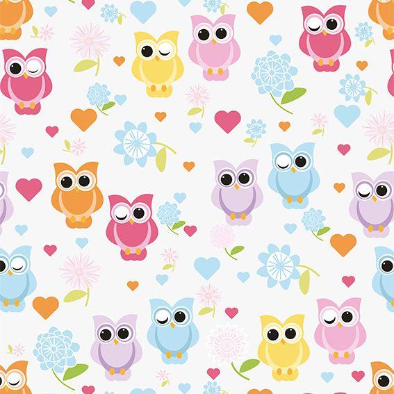 Papel de Parede Corujas Flores Corações Cute Adesivo P472