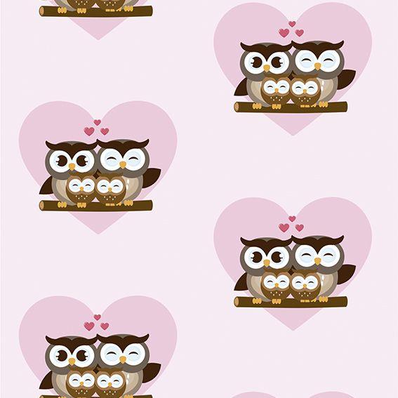 Papel de Parede Corujas Familia Love Corações Adesivo P230