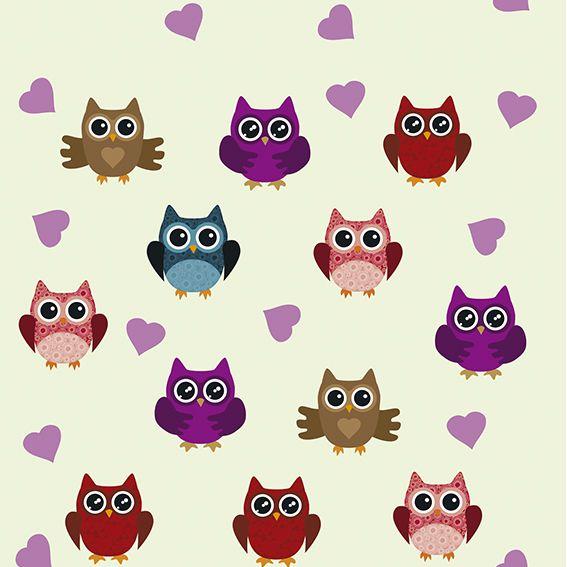 Papel de Parede Corujas Colorida Love Corações Colorida Adesivo P430