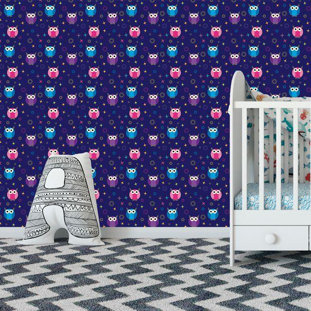 Papel de Parede Corujas Bebê Estrelas Adesivo P378