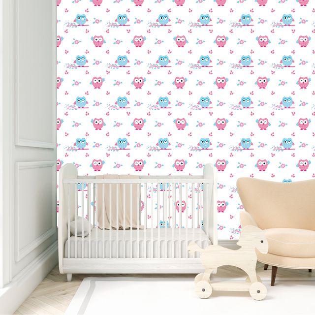 Papel de Parede Corujas Bebê Galhos Florzinhas Adesivo P386