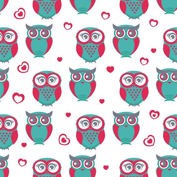 Papel de Parede Corujas Cute Corações Adesivo P473