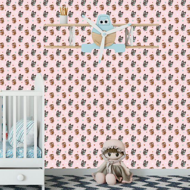 Papel de Parede Corujas Bebê Corações Love Adesivo P445