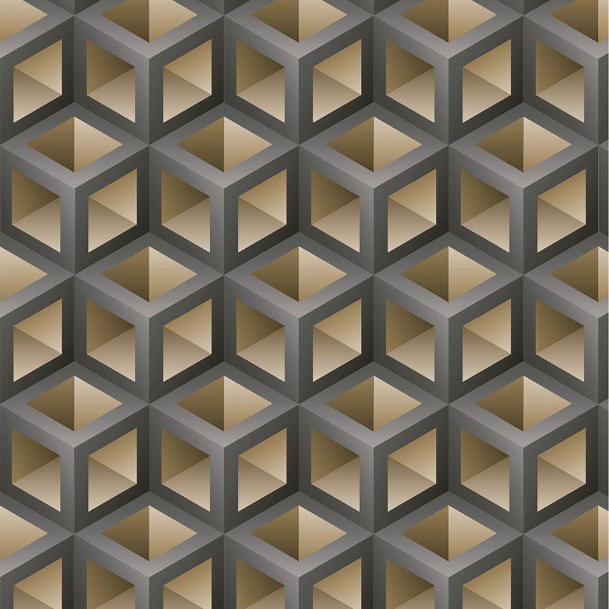 Papel de Parede 3D Cubos Geométrico Adesivo P580