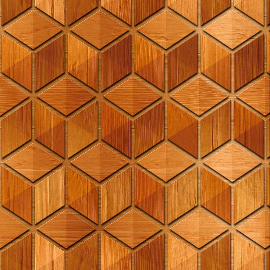 Papel de Parede Madeira Cubos Geométrico Adesivo P592