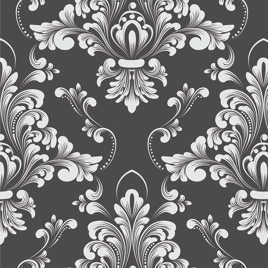 Papel de Parede Damask Floral Glamour Adesivo P822