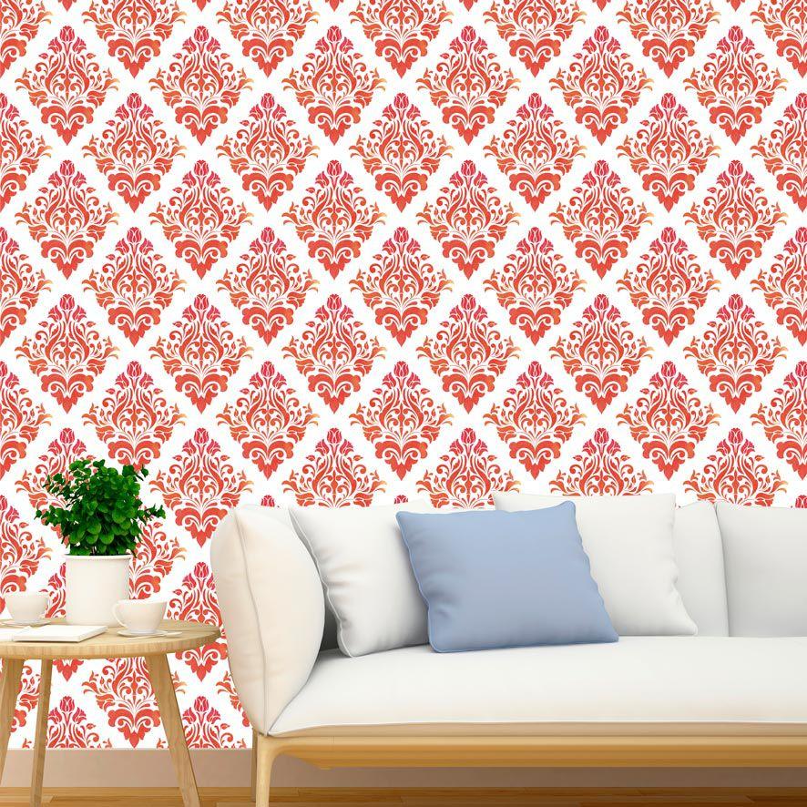 Papel de Parede Damask Floral Glamour Adesivo P787