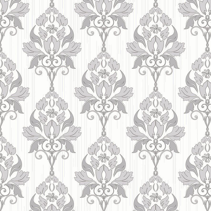 Papel de Parede Damask Floral Glamour Adesivo P794