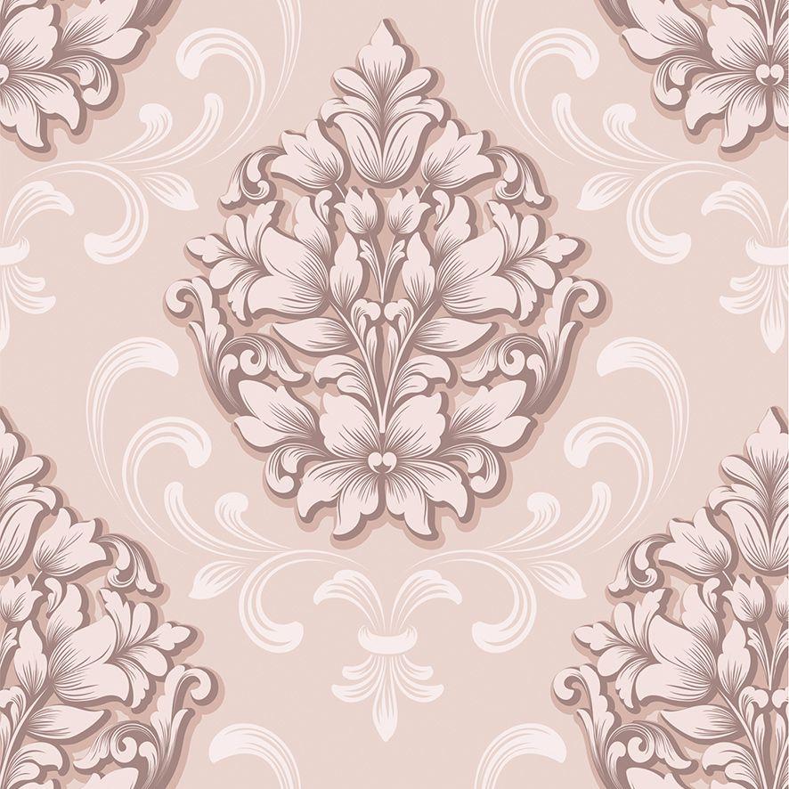 Papel de Parede Damask Floral Rose Adesivo P556