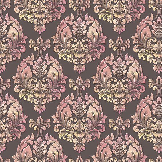 Papel de Parede Damask Real Rose Vintage Adesivo P195