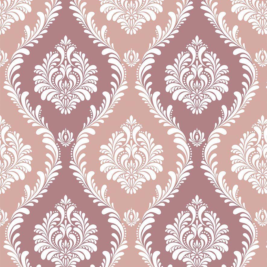 Papel de Parede Damask Luxuria Tons Rosa Adesivo P684