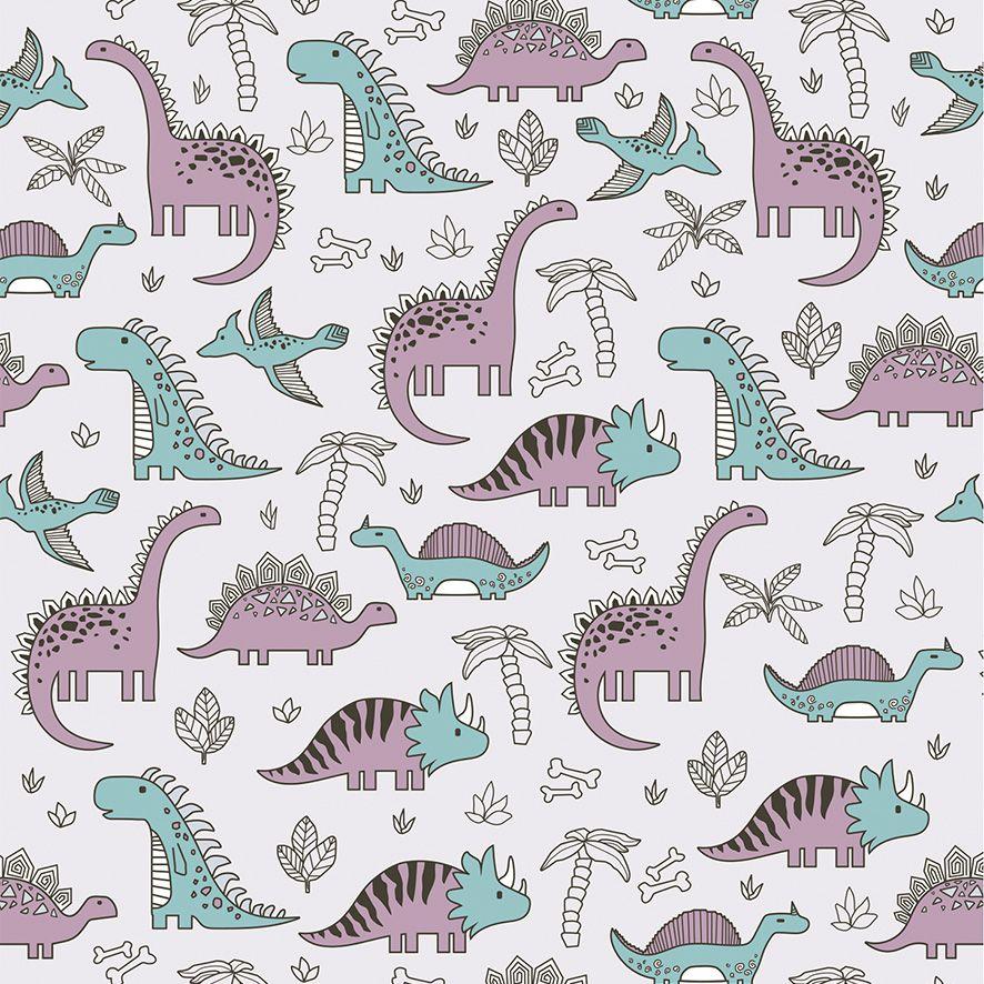 Papel de Parede Dinossauros Coqueiros Kids Adesivo P532