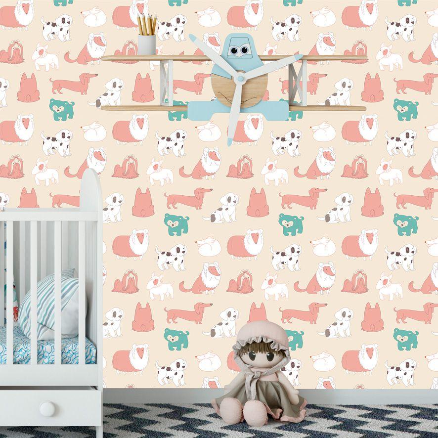 Papel de Parede Cachorros Diversas Raças Adesivo P496