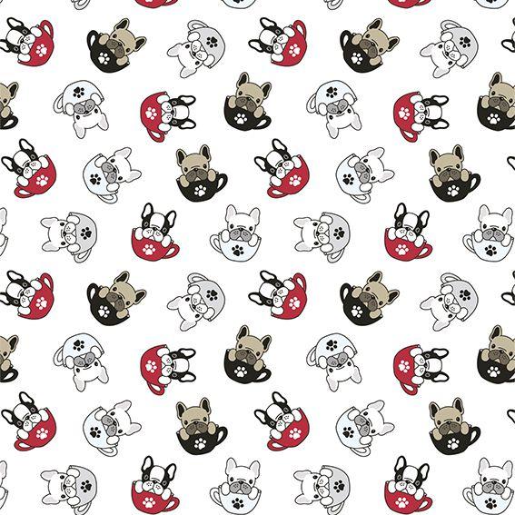 Papel de Parede Xicara Cachorrinhos Patas Adesivo P266