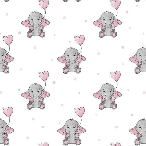 Papel de Parede Elefantinhos Cute Balão Corações Poa Adesivo P376