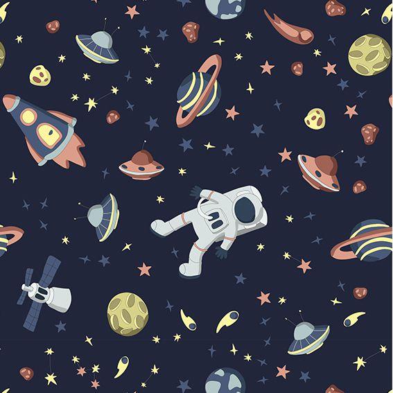 Papel de Parede Espaço Foguetes Planetas Astronauta Adesivo P363