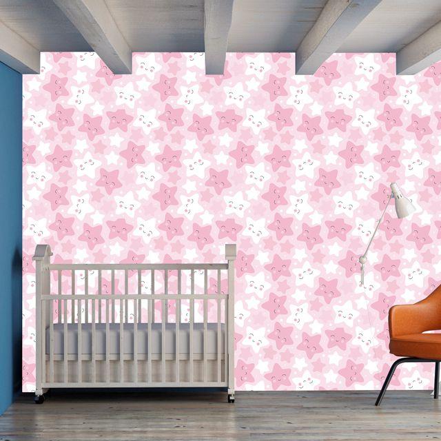 Papel de Parede Carinhas Estrelas Kids Bebê Adesivo P339