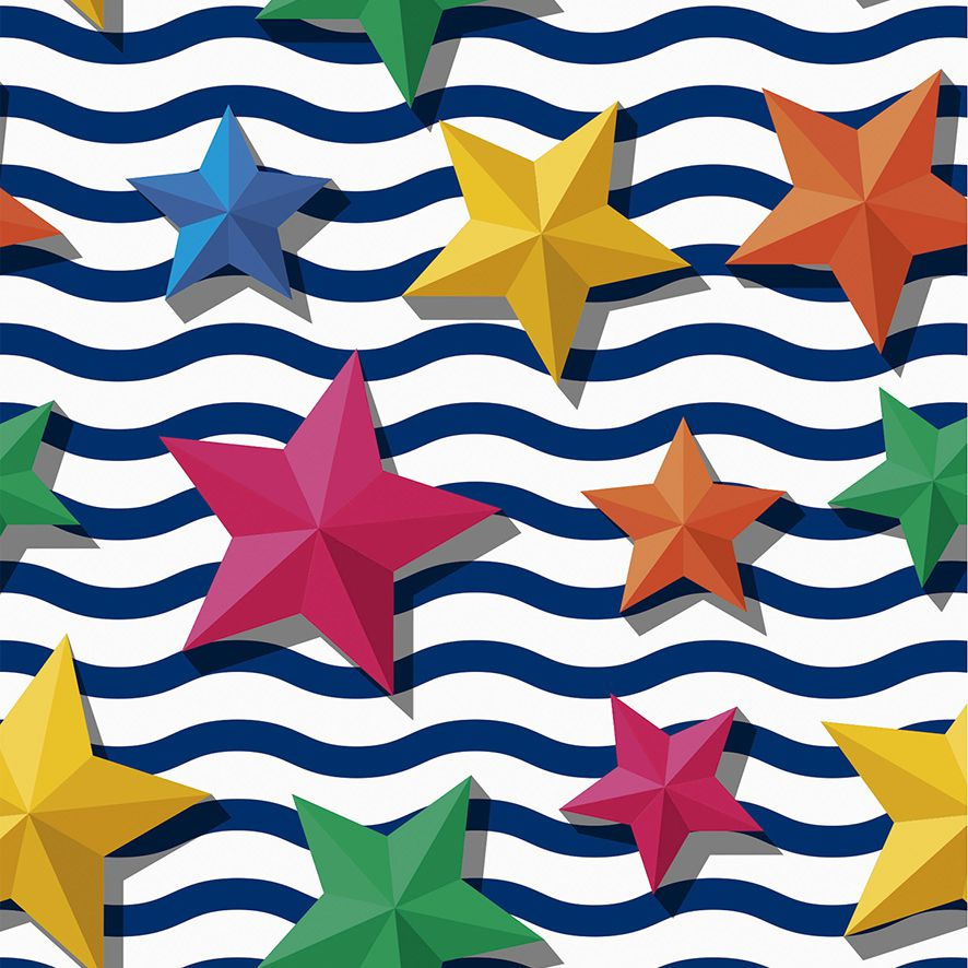 Papel de Parede Listras Ondas Estrelas do Mar 3D Adesivo P518