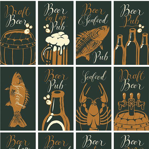 Papel de Parede Fish Beer Chopp Food Adesivo P179