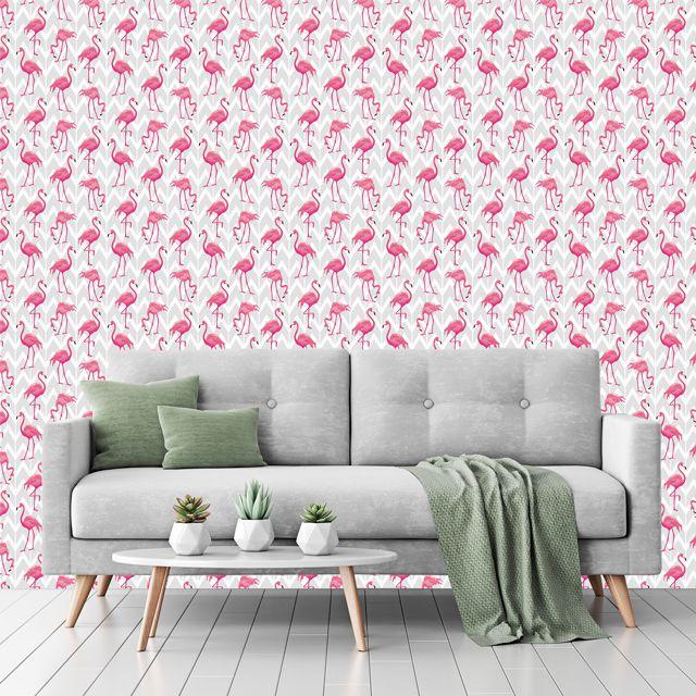 Papel de Parede Adesivo Flamingo Chevron P133