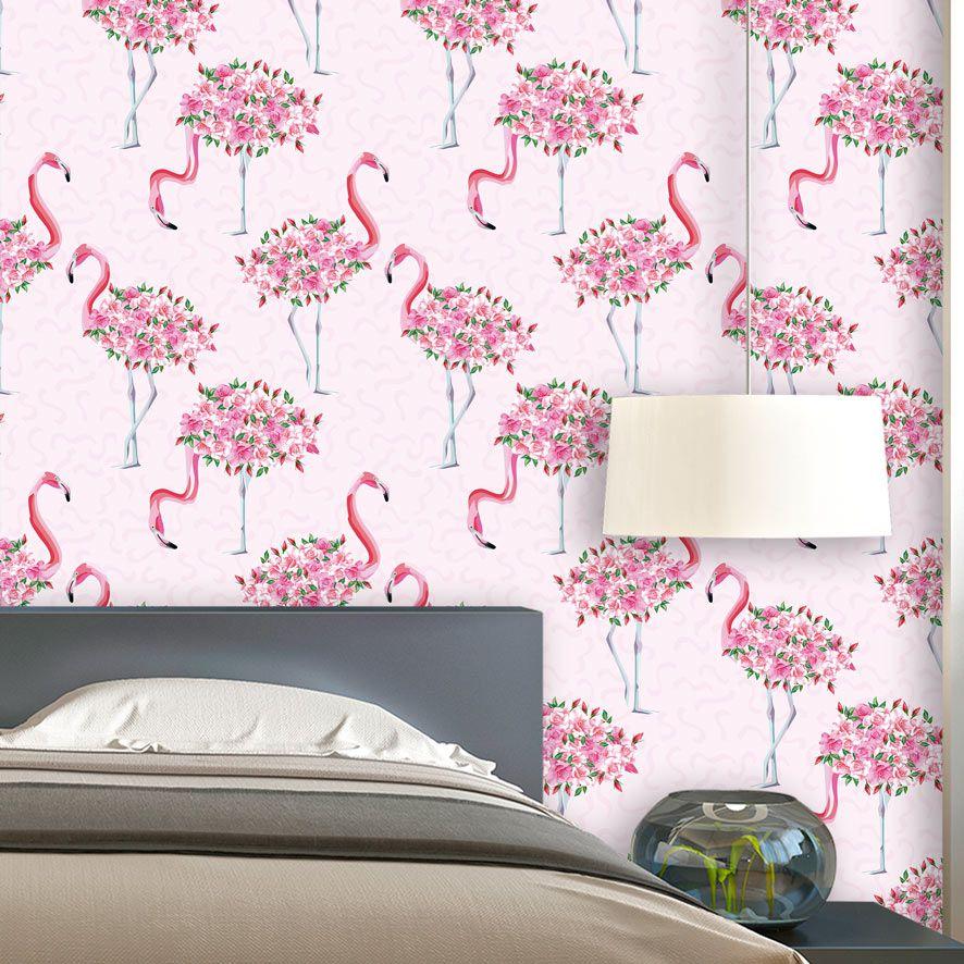 Papel de Parede Flamingo Floral Glamour Adesivo P828