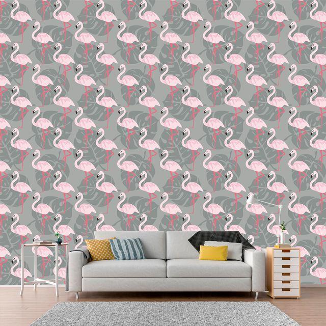 Papel de Parede Flamingos Folhas Costela de Adão Adesivo P379