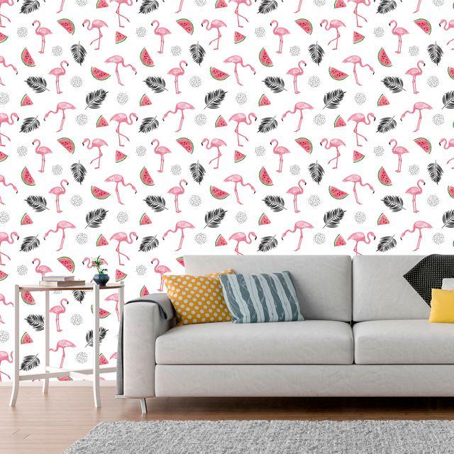 Papel de Parede Flamingos Melancia Folhas Adesivo P393