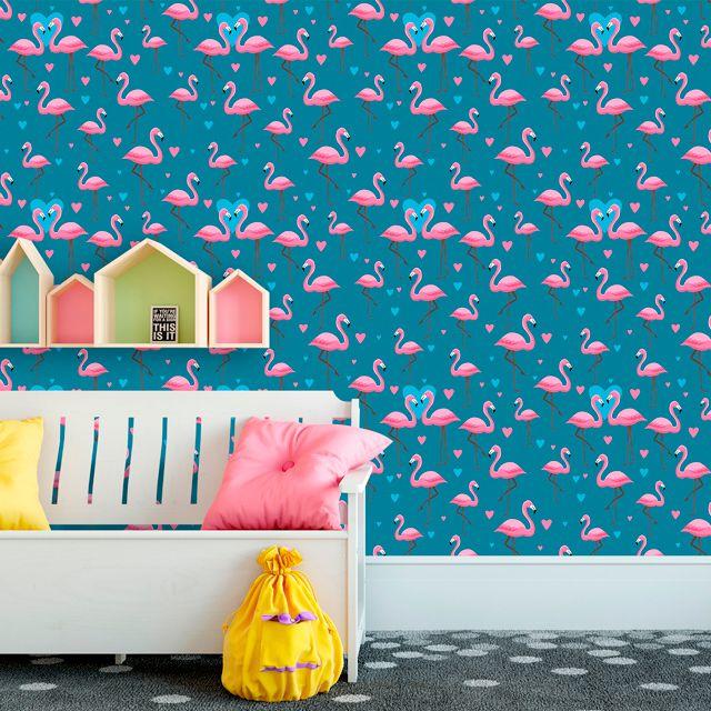 Papel de Parede Flamingos Love Corações Adesivo P297