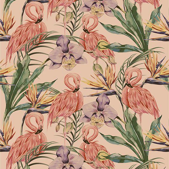 Papel de Parede Flamingos Floral Folhas Tropical Adesivo P158