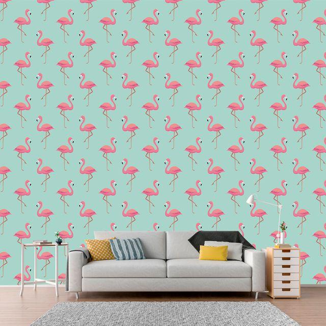 Papel de Parede Flamingos Rosas Adesivo P298