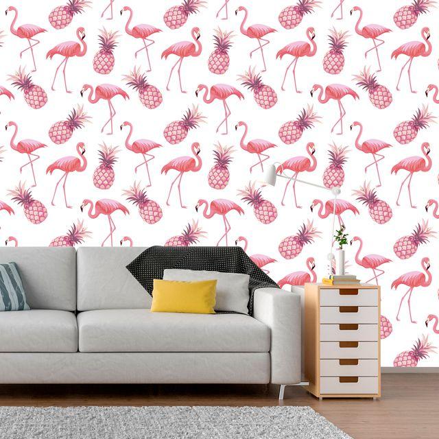 Papel de Parede Flamingos Abacaxi Tropical Adesivo P354