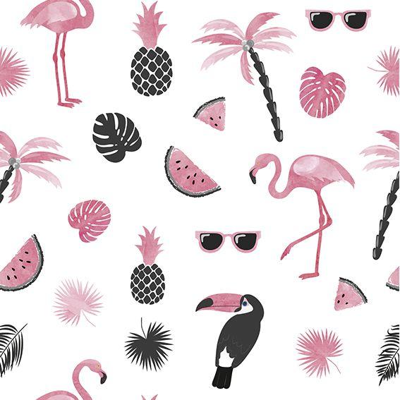 Papel de Parede Flamingos Coqueiro Abacaxi Melancia Adesivo P383