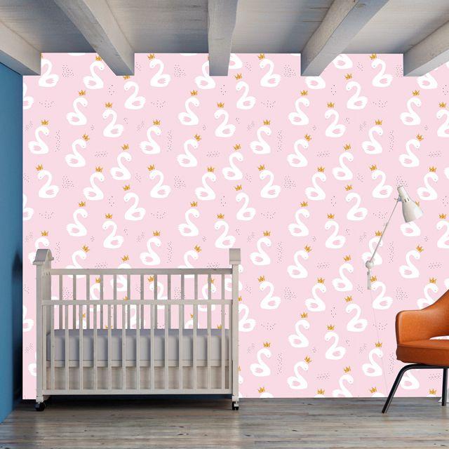 Papel de Parede Cisnes Realeza Coroa Bebê Adesivo P259