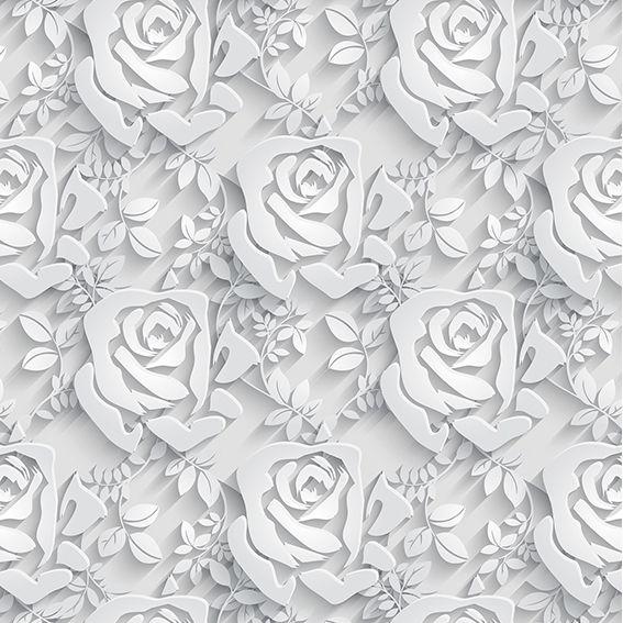 Papel de Parede 3D Floral Flores Tons Cinza Adesivo P219