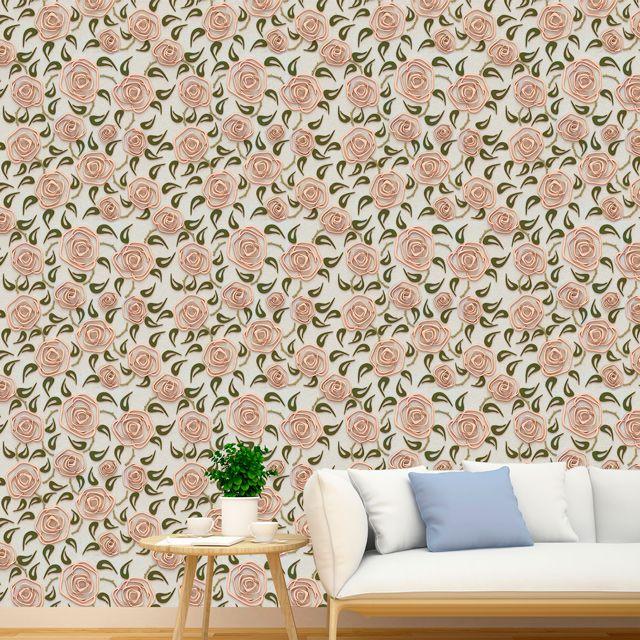 Papel de Parede 3D Floral Rosas Folhas Adesivo P375