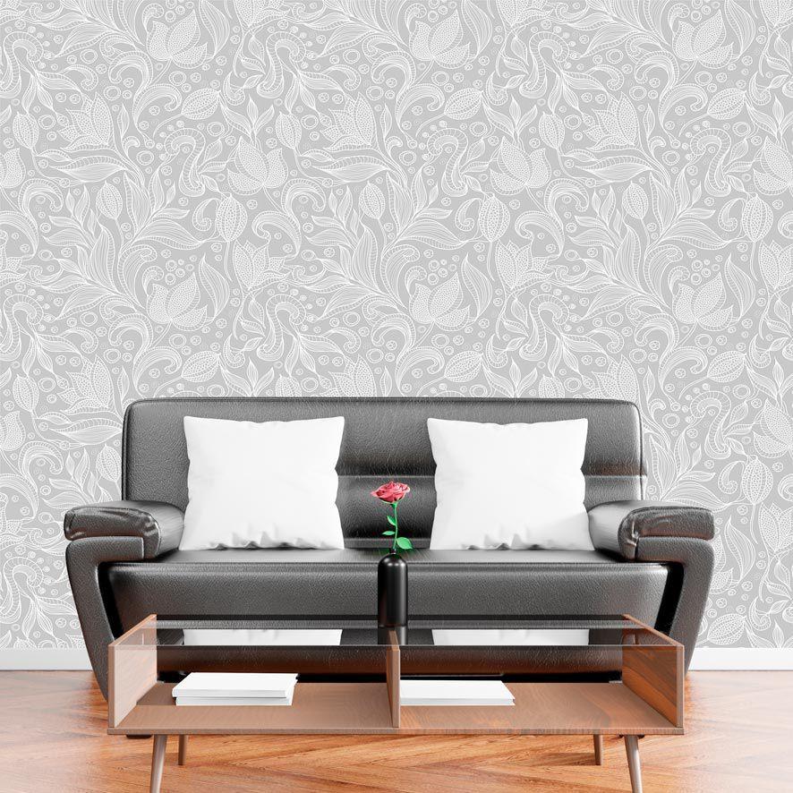 Papel de Parede Adesivo Floral Arabesco Cinza P629