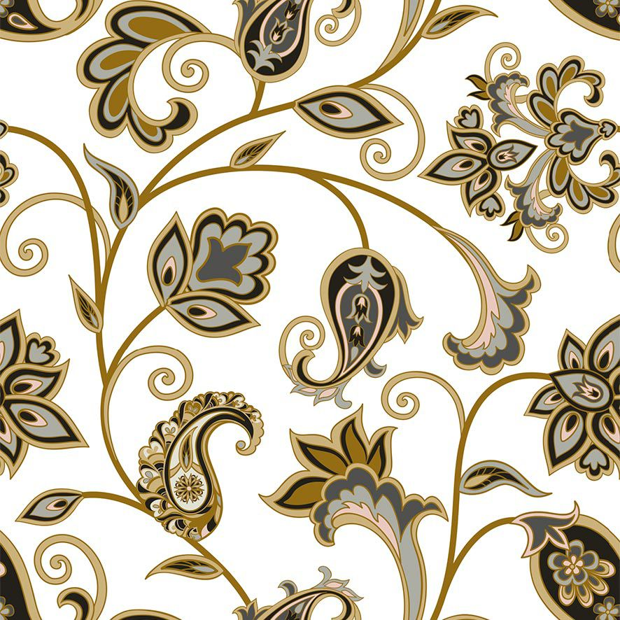 Papel de Parede Floral Arabesco Glamour Adesivo P826