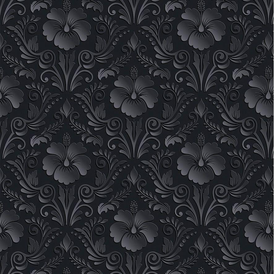 Papel de Parede Arabesco Floral 3D Glamour Adesivo P542