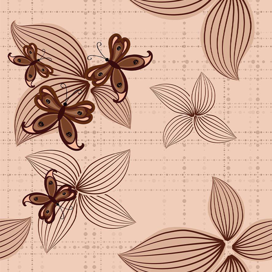 Papel de Parede Adesivo Floral Borboleta Tom Marrom P621